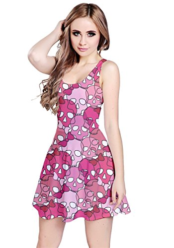 - CowCow Womens Pink Girl Skulls with Bow Sleeveless Skater Dress, Pink 2 - XS