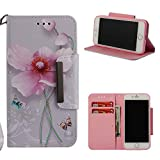 Leather Wallet Case for iPhone 8 Plus/iPhone 7 Plus,Shinyzone Colorful Flower Painted Pattern Flip Stand Case,Wristlet & Metal Magnetic Closure Protective Cover