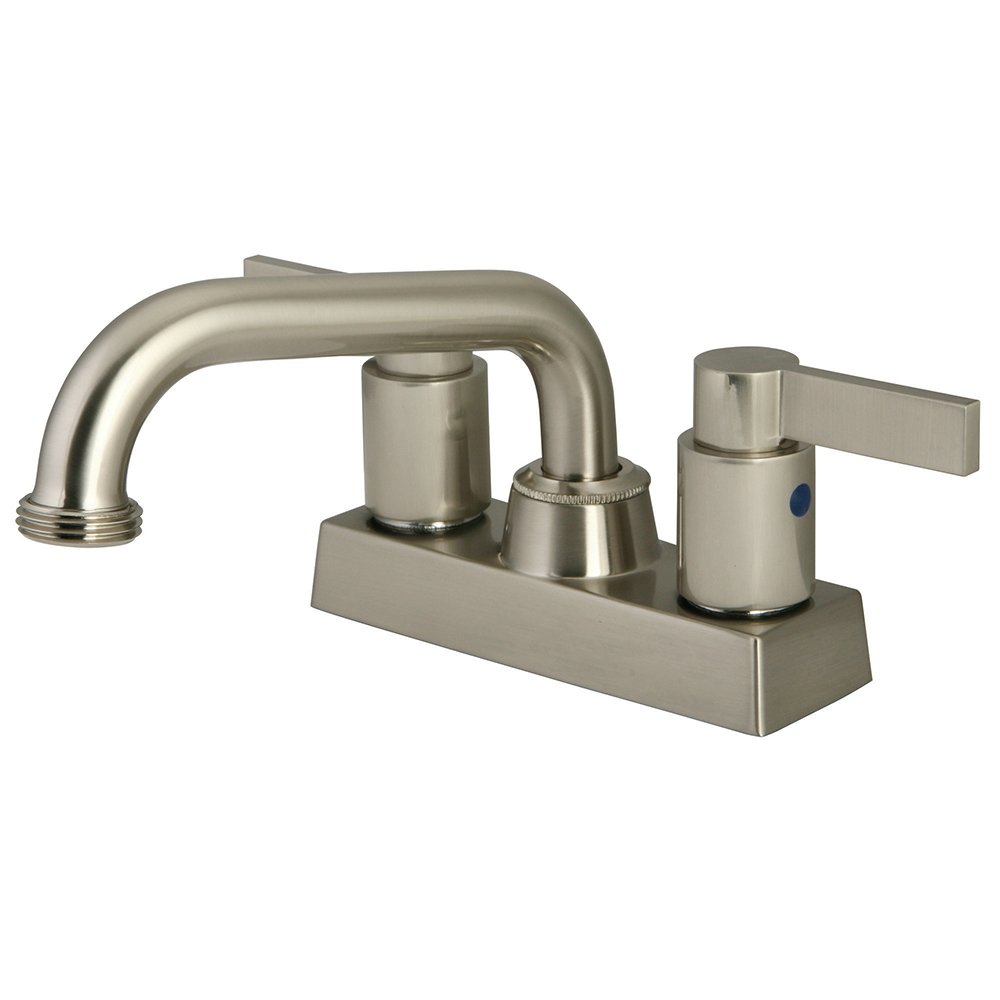 Kingston Brass KB2478NDL 5-3/4-Inch in Spout Reach NuvoFusion Two Handle Laundry Faucet, Satin Nickel