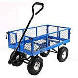 Sunnydaze Utility Cart with Removable Folding Sides, Heavy-Duty 400 Pound Weight Capacity, Blue