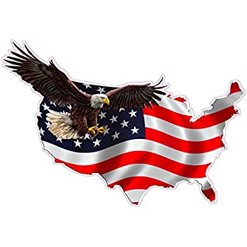 """Amazon.com: Flying American Flag Eagle Decal Large 11"""" x 9"""