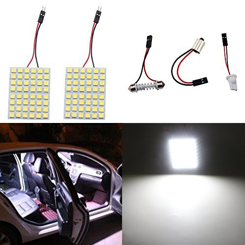Car Dome Light Bulb - GrandviewTM Super White Energy-saving 5050 48-SMD LED Panel Dome Light Auto Car Interior Reading Plate Light Roof Ceiling Interior Wired Lamp+ T10 BA9S Festoon Adapter-2PCS