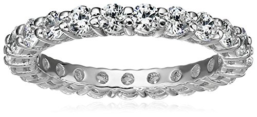 Platinum Plated Sterling Silver All-Around Ring set with Round Swarovski Zirconia (1 cttw), Size 5
