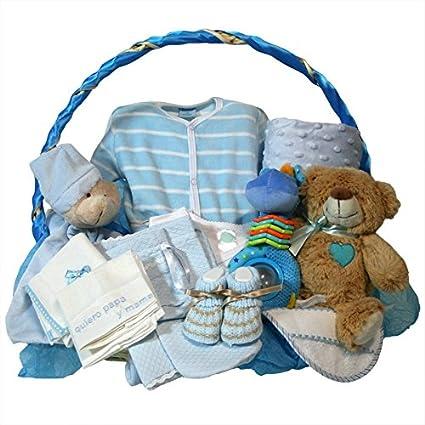 Canastilla bebe recien nacido - Esencial Delux azul - Cesta regalo ...