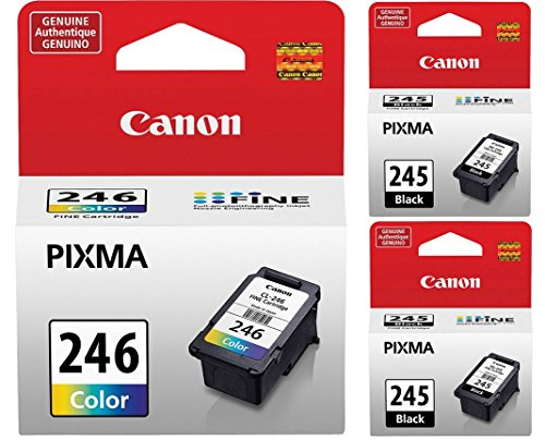 (Genuine Canon PG-245 Black Ink Cartridge - 2 Pieces (8279B001) + Canon CL-246 Color Ink Cartridge (8281B001) )