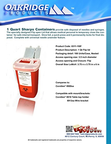 1 Quart Size (Pack of 3) | Oakridge Products Sharps Container with Flip Lid | for Diabetics by OakRidge Products (Image #6)