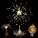 BUSOH LED Firework Lights, Hanging Starburst Copper Wire Twinkle Light Chandelier Battery Operated Waterproof Remote Control Decorative Bouquet Fairy String Lights for Outdoor/Patio/Festival/Christmas