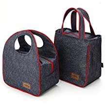 Bear Motion Insulated Lunch Bag (Set of 2 Sizes) - Washable Denim Zip Aluminum Film Pack Cooler Bag Lunch Box Bag Set