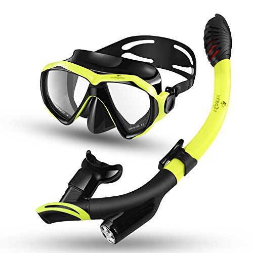 integity Snorkel Set, Anti-Fog Snorkel Mask Impact Resistant Panoramic Tempered Glass,Innovative Water-Air Separated Anti-Leak Dry Snorkel Set,Free Breathing Diving Mask Adjustable Straps Youth Adult