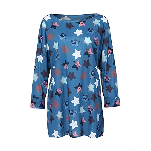 Tunique Pentagramme Marine Grande Tops Rond Taille Loose T Manches Chic Femme 5XL Impression Automne Chemise XL Blouse Col Solike Shirt Longues Printemps Casual vxBqFfwZw