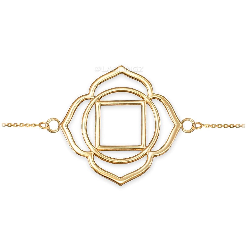 14K Yellow Gold Muladhara Chakra Womens Yoga Bracelet