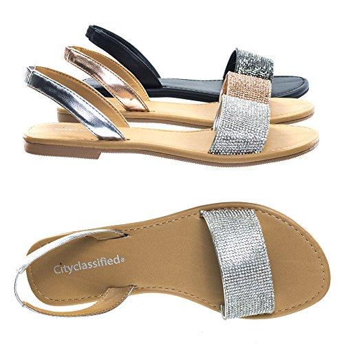 Rhinestone Crystal Embellished Flat Open Toe Summer Sandal w Sling Back ()