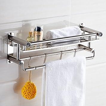 RBB Los Cuartos de baño Son de Acero Inoxidable Estantería para Toallas Doble Estantería de Acero Inoxidable Una Sola Capa Baño Doble Toallero Estante para ...