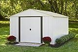 Arrow Arlington High Gable Steel Storage Shed, Eggshell/Coffee Trim, 10 x 12 ft.