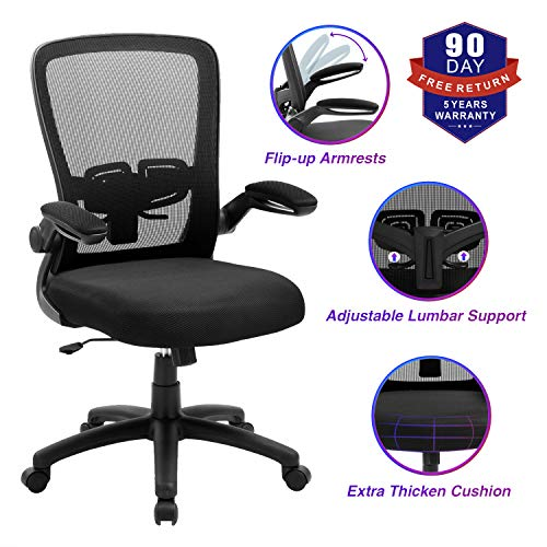Office Chair, ZLHECTO Ergonomic Desk Chair with Adjustable Height and Lumbar Support, High Back Mesh Computer Chair with Flip up Armrests for Conference Room – 300lb Weight Capacity (1669-Black)