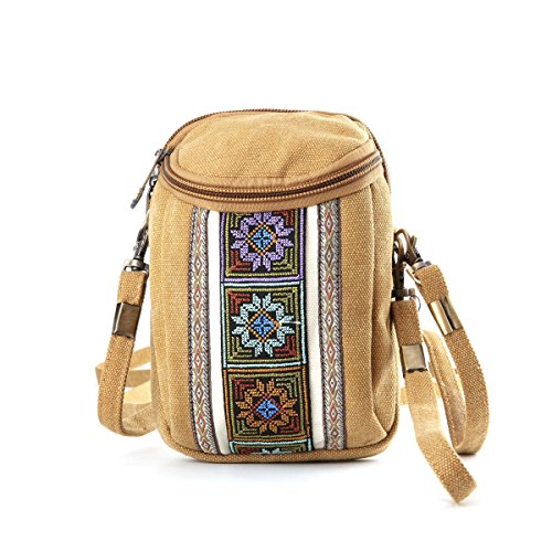 Goodhan Handmade Embroidery Canvas Crossbody Bag Cell phone Pouch Coin Purse for Women Girls (Camel Yellow)