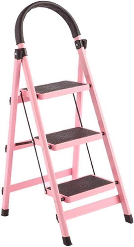 Escalera De Mano, 3 Pasos - Escaleras Plegables De Aluminio Del Hogar, Heces Portátil De Pie Para La Oficina Jardín De Su Casa (Color : Pink): Amazon.es: Bricolaje y herramientas