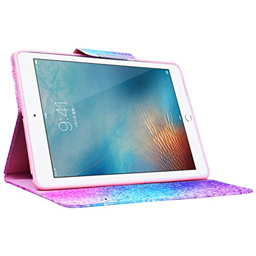 Funda iPad 9.7 2017 WE LOVE CASE Piel y Tipo Cartera Carcasa Funda iPad 9.7 2017 caso de Cuero Original Funda Que Se Pega con Ranura Para Tarjeta Card Holder y Stand Cierre Anti Shock Funda iPad 9.7  arco iris