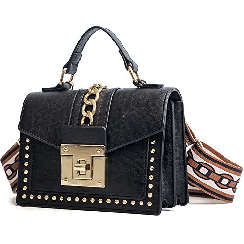 bandoulière Petit Bag Simple Rivet Sac Retro Shoulder à ZHRUI Noir carré Sac Ribbon qR8zwWnHT