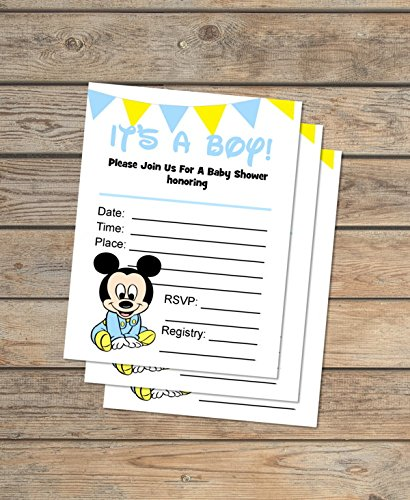 Baby Mickey Mouse Fill In Blank Invitations, Flat Cards Set Of 20, Boy Baby Shower Invitations With Envelopes, Flat Card Invitations, 4.25