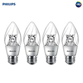 Philips LED Dimmable F15 Soft White Light Bulb with Warm Glow Effect 500-Lumen, 2700-2200-Kelvin, 7-Watt (60-Watt Equivalent), E26 Base, Clear, 4-Pack