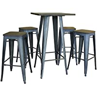 AmeriHome Loft Rustic Gunmetal Pub Set with Wood Tops - 5 Piece BSSET37