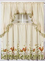 Elegant Home Collection 3 Piece Rooster Printed Design Kitchen Window  Curtain Set Tiers And Swag Valance ...