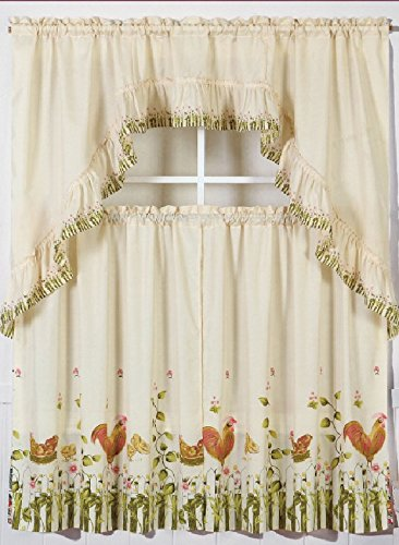 GorgeousHomeLinen 3pc Beige Rooster-1 Cottage Design Kitchen Window Ruffle Rod Tier Curtains Swag Valance Set