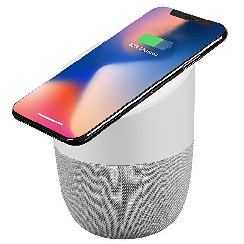 Wireless Charger with Bluetooth Speaker, 8 AM iPhone X iPhone 8, Samsung Galaxy Note 8 S8 S8 Plus S7 Edge Wireless Charger, For All Qi-Enable Devices, Desktop Stereo Speaker