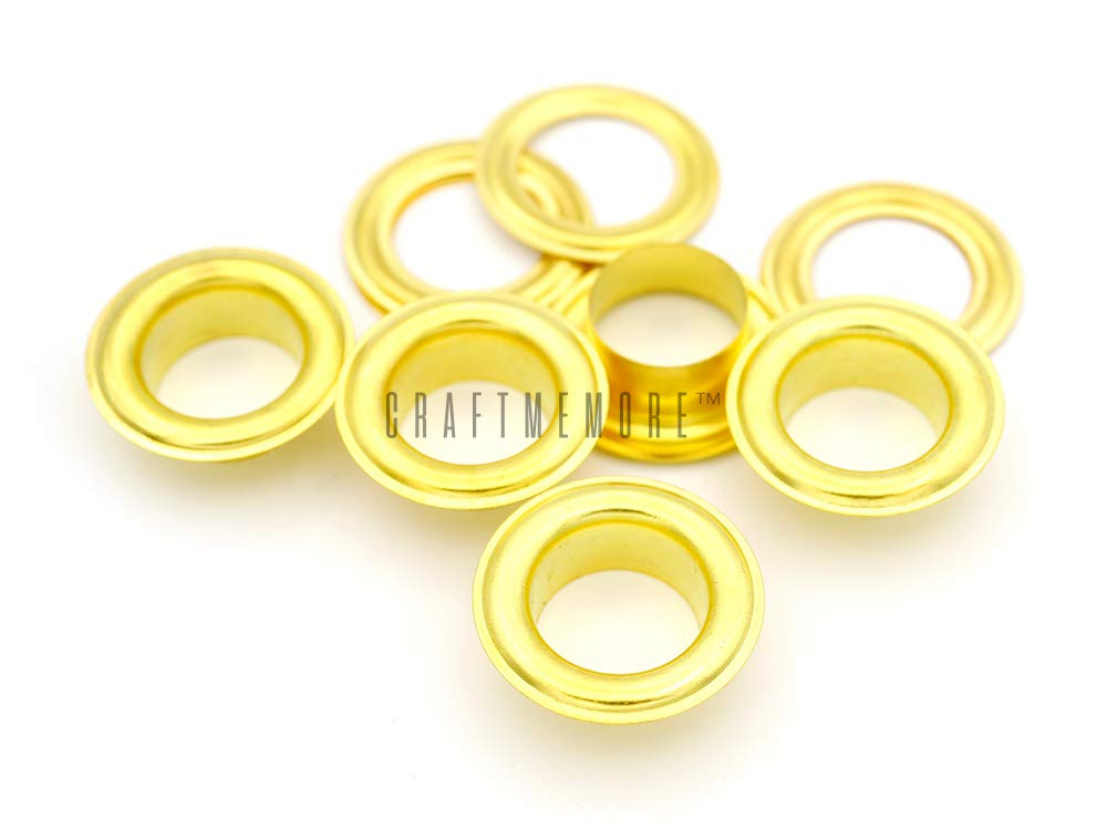 Hole 50 Sets Grommets Eyelets with Washers for Leather CRAFTMEmore 1//2 Gold Tarp Canvas 13MM