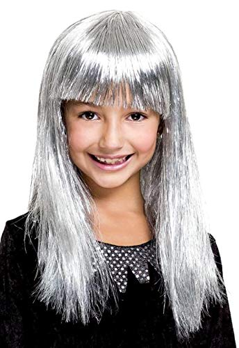 Paper Magic Silver Tinsel Girl Halloween Wig]()
