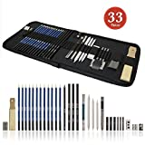 Tinpa 33 PCS Professional Sketch Kit, Sketching and Drawing Pencils Charcoal Art Set Includes Charcoals, Pastels and Zippered Carry Case for Beginners Artist
