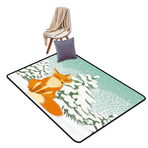 Girl Bedroom Rug Fox Red Fox Sitting in Winter Forest Snow Covered Pine Trees Xmas Cartoon Quick and Easy to Clean W63 xL94.5 Orange White Almond - Dalyn Snow