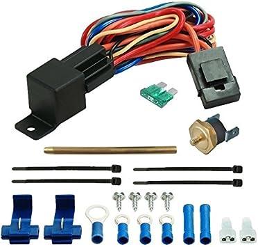 American Volt Electric Fan Radiator Fin Push-in Probe Thermostat Wiring Relay Switch Temp Sensor Kit 2 Inch Probe, 140F On - 125F Off
