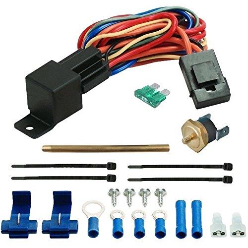 American Volt Electric Fan Radiator Fin Push-in Probe Thermostat Wiring Relay Switch Temp Sensor Kit (2