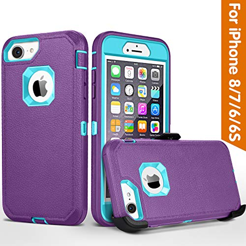 FOGEEK iPhone 8 case,iPhone 7 Case, iPhone 6s Case, Belt-Clip Protective Heavy Duty Kickstand Cover [Shockproof] Cover Compatible for iPhone 8/7/6/6s (NOT Plus) (Purple and Blue)