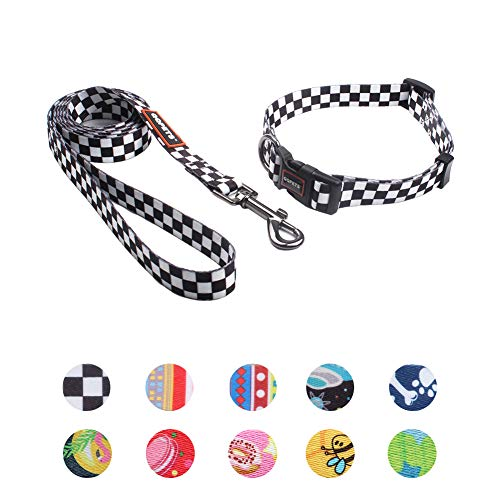 QQPETS Dog Leash and Collar Set Personalized Basic Collars Matching Soft Leashes for Cat Extra Small Dogs Training Walking (XS, Black Plaid)