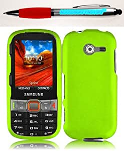 Accessory Factory(TM) Bundle (the item, 2in1 Stylus Point Pen) For Samsung Array Montage M390 Rubberized Cover Case - Neon Green