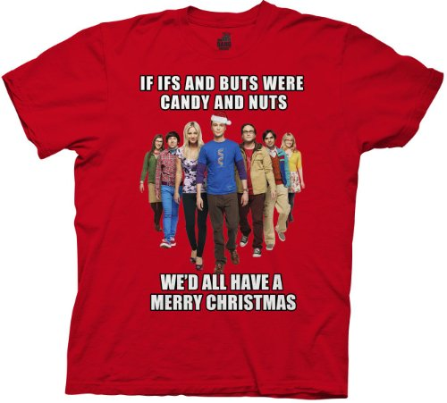 The Big Bang Theory Cast We'd All Have A Merry Christmas Adult Red T-Shirt (Adult Large) (Big Bang Theory Penny compare prices)