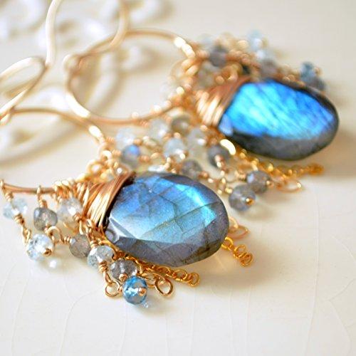 Labradorite Chandelier Earrings with Blue Topaz in (Blue Topaz Labradorite Earrings)
