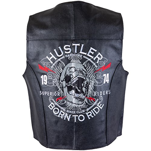 Officially Licensed Hustler Mens Born to Ride Classic Leather Vest with Skull E - (Hustler Leather)