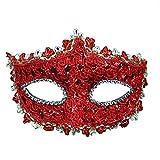 Geek-M Halloween Costume Lace with Rhinestone Venetian Women Masquerade Mask, Red