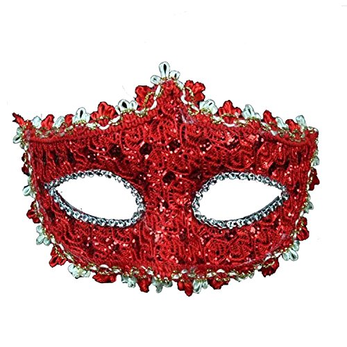 Geek-M Halloween Costume Lace with Rhinestone Venetian Women Masquerade Mask, Red (Red Halloween Mask)