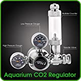 CO2 Regulator Aquarium Mini Stainless Steel Dual Gauge Display Bubble Counter and Check Valve With Solenoid 110V - LP 150 PSI - HP 2000 PSI Accurate and Easy to Adjust Comes With Tools