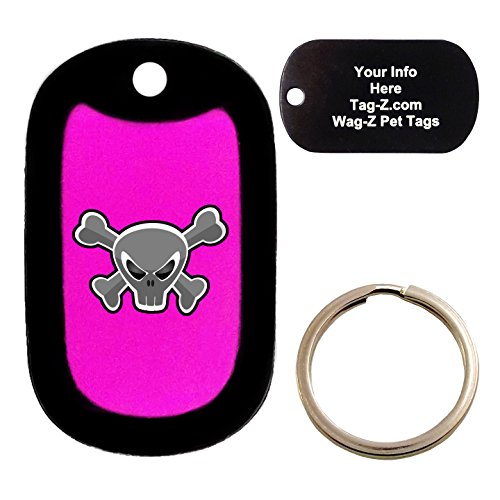 Custom Engraved Pet Tag - Mad Crossbones Skull - Pink - Dog Tag - Tag-Z Wag-Z