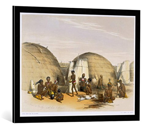 kunst für alle Framed Art Print: George French Angas Zulu Kraal Umlazi with Huts Screens Plate 21 from… - Decorative Fine Art Poster, Picture with Frame, 31x24 inch, Black/Edge Grey (Huts Native Postcard)