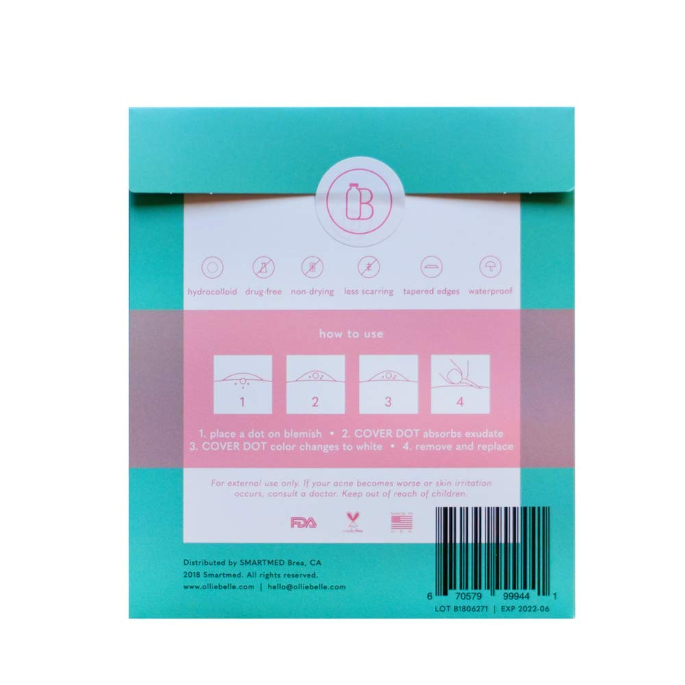 Cover Dot Acne Care (24 Dots) Skin Blemish Treatment with Hydrocolloid |  Clear, Waterproof Patch | Oil