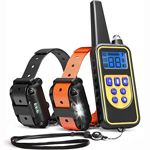 iSPECLE Dog Training Collar, 2018 Upgraded Waterproof Rechargeable 2600ft Remote Dog Shock Collar with LED Light, Beep, Vibration, Shock for Medium/Large Breed 2 Electronic Collars, Neck Lanyard by iSPECLE