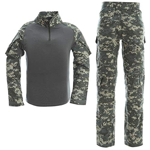 LANBAOSI Men's Tactical Combat Shirt and Pants Set Long Sleeve Multicam Woodland BDU Hunting Military Uniform 1/4 - Camouflage Suit Woodland