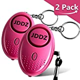 Personal Alarm, JDDZ 140 db Safe Siren Song Emergency Self Defense Protection Device Anti-Rape/Anti-Theft Security With Mini LED Flashlight for Women, Kids and Elderly 2 Pack (Pink)